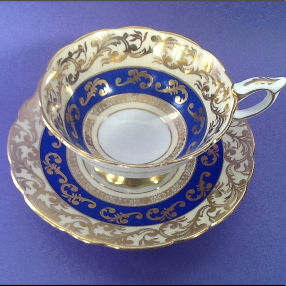 Royal Stafford Other - Royal Stafford Gold Filigree Blue Teacup Duo